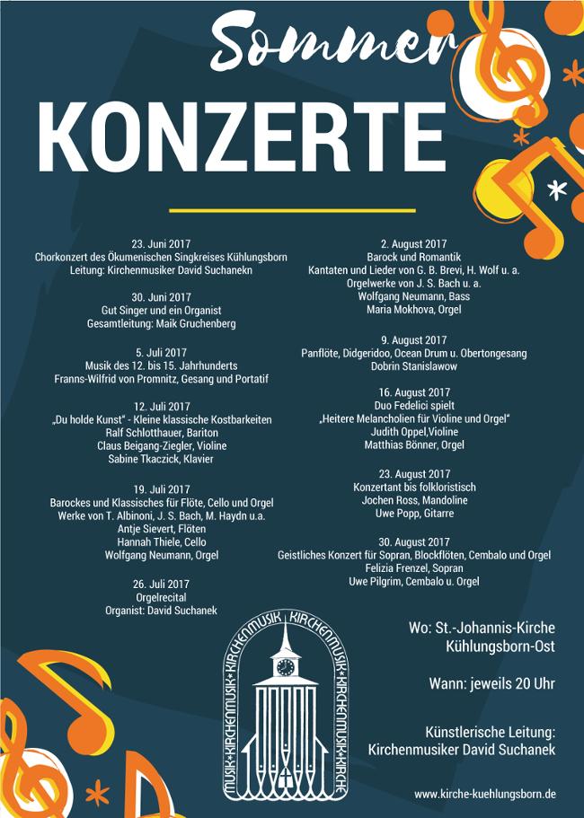 Sommer Konzerte in der evangelischen Kirche Kühlungsborn - Juni bis August 2017
