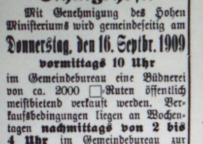 Verkauf des alten Schulgehöfts in Arendsee. Ostsee-Bote, 14.9. 1909