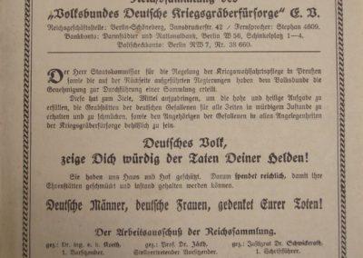 Kriegsgräberfürsorge. Akte 2.S.3.a.937. Archiv des Lk. Rostock