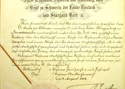 Genehmigung eines Flächenaustausches durch den Großherzog Friedrich Franz IV, Akte 2.S.3.a.229. Archiv des Lk. Rostock