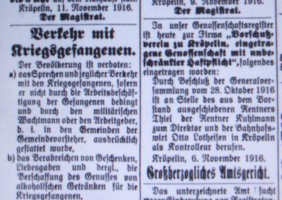 Verkehr mit Kriegsgefangenen. Ostsee-Bote, 17.11.1916