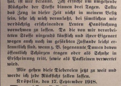 Diebstahl. Ostsee-Bote, 18.9.1918