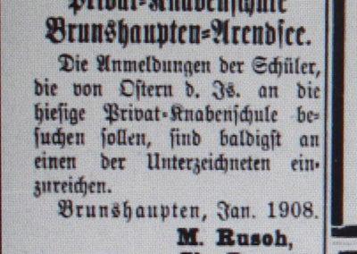 Anmeldung für den Besuch der privaten Knabenschule Brunshaupten-Arendsee. Ostsee-Bote 18.1. 1908