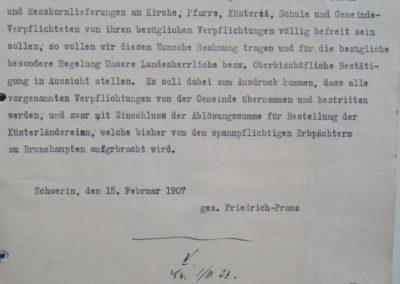 Vorschlag des Landesherrn 1907. Akte 2.S.3.a.239. Archiv des Lk. Rostock