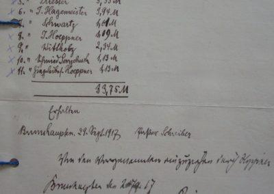 Opfergeld der Pfarre 1917 Abgaben an die Kirche 1917. Akte 2.S.3.a.239 Archiv des Lk. Rostock