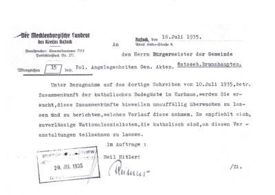 Gestaposchreiben - Akte 2S3a242 - Archiv des LK Rostock