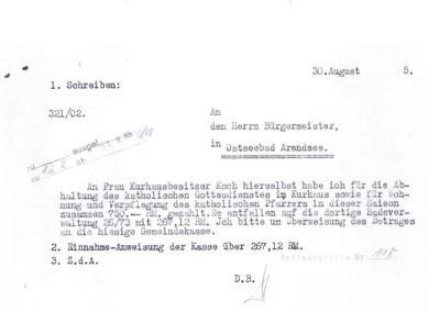 Rechnung des Kurhauses an die Gemeindeverwaltung Arendsee - Akte 2S3a242 Archiv des Lk Rostock